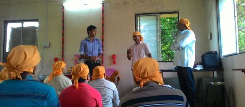 Trainer from Wagons Skill Foundation conducting the session on the meditation training and Yoga.