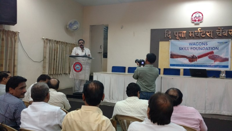 Pune Merchant's Chamber Chairman - Mr. Pravin Chorbele addressing the audience.