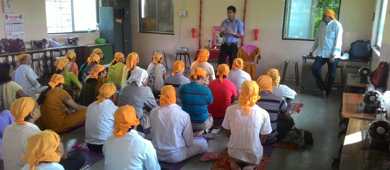Participants for meditation training program are following the instructions given by our trainer